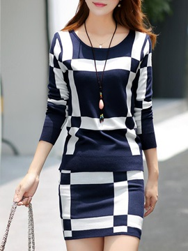 Color Block Plaid Printed Skirt Suit