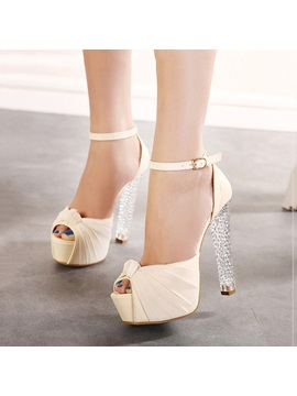 Bowtie Peep Toe Crystal Heel Sandals