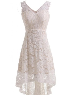 Simple V Neck Lace High Low Beach Wedding Dress