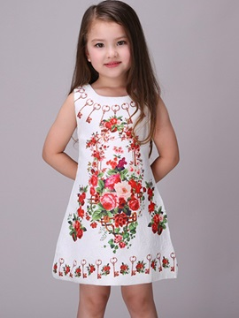 Simple Floral Sleeveless Girls Dress