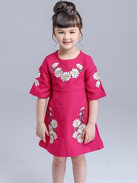 Plain Embroidery Short Sleeve Girls Dress