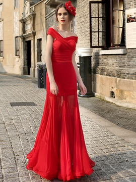 Red Sleeveless Off The Shoulder Zipper Up Evening Dress