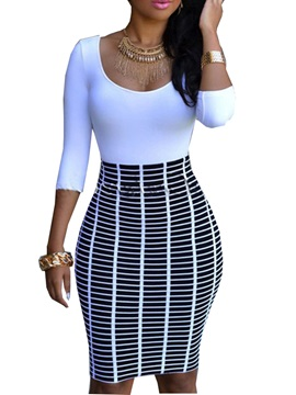 Stripe U Neck 3 4sleeve Bodycon Dress