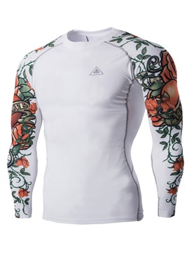 Floral Printed Slim Fit Mens Casual T Shirt