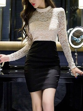 Lace Patchwork Long Sleeve Womens Bodycon Dress