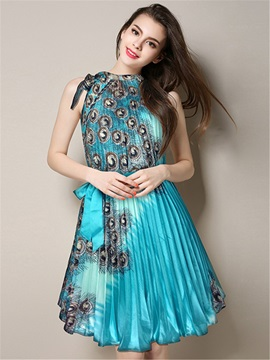 Print Sleeveless Bowknot Lace Up Ethnic Skater Dress