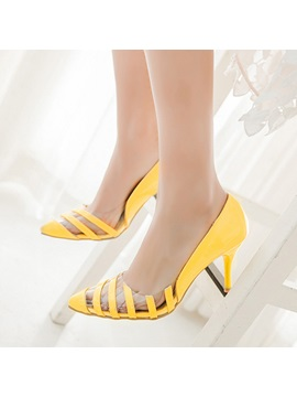 Pvc Patchwork Round Toe Pumps