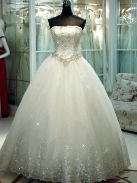 Strapless Sequined Appliques Ball Gown Wedding Dress