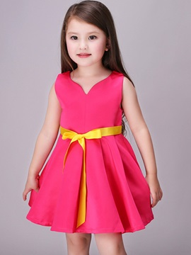 Pure Color Lace Up Girls Dress