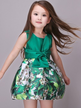 Multicolor Lace Up Girls Dress