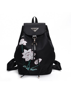 Flower Printing Nylon Drawstring Backpack