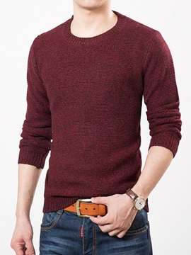 Solid Color Round Neck Long Sleeve Mens Sweater