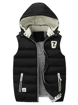Hooded Stand Collar Mosaic Color Slim Warm Mens Vest