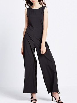 Plain Loose Polyester Backless Patchwork Jumpsuits