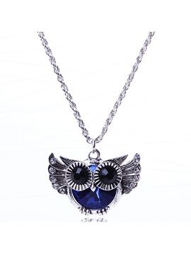 Blue Owl Pendant Necklace