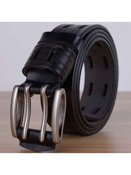 Double Hole Pin Buckle Mens Leather Belt