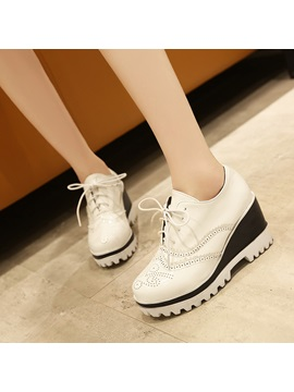 Thread Pu Lace Up Wedge Heel Casual Sneakers
