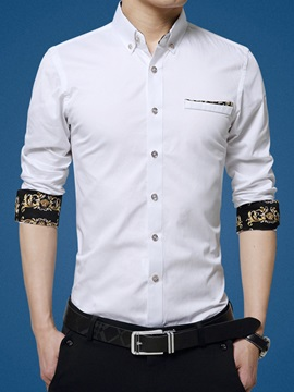 Single Breasted Slim Fit Mens Long Sleeve Shirt
