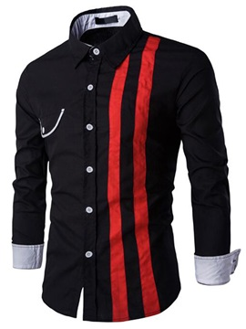 Bold Vertical Stripe Mens Casual Shirt