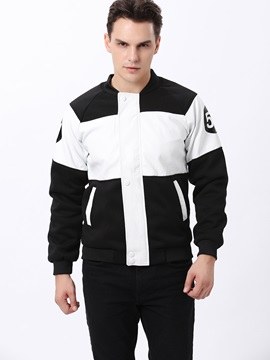 Zipper Patchwork Stand Collar Mens Pu Jacket
