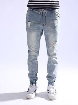 Denim Hole Long Casual Mens Pant
