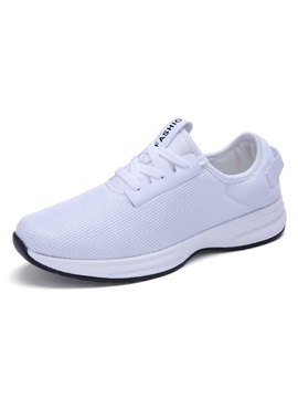 Breathable Solid Color Lace Up Mens Sneakers