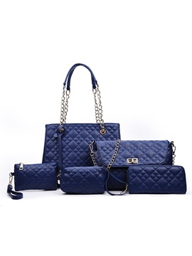 Fashion Chain Handle Lining Plaid Embossed Bag Sets 5 Pieces
