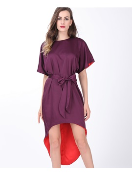 Short Sleeve High Low Lace Up Day Dress