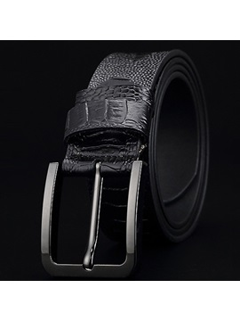 Embossed Leather Pin Buckle Regular Mens Belt