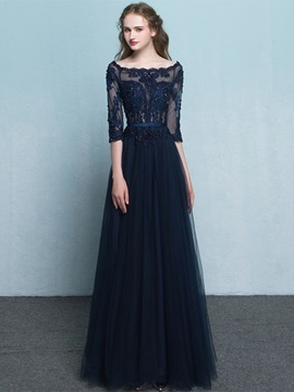 Vintage Off The Shoulder Appliques Beading Long Evening Dress