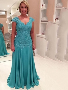 V Neck Cap Sleeves Appliques Long Evening Dress