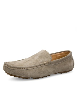 Solid Color Slip On Suede Driving Shoes
