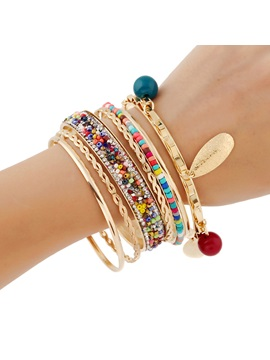 Beads Imitation Diamond Leaves Alloy Bracelet