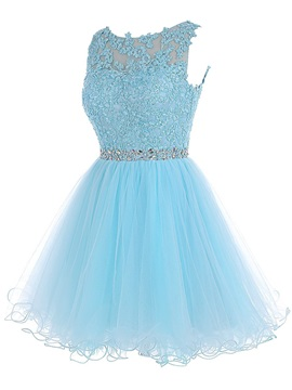 Scoop Appliques Beading Short Homecoming Dress