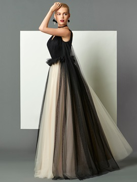 Unique A Line V Neck Ruched Backless Sweep Train Evening Dress