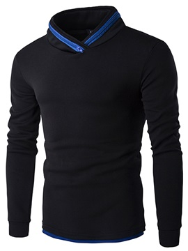 Zip Decorated Collar Casual Mens Hoodie