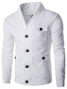 Solid Color V Neck Mens Single Breasted Jacket