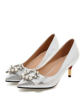Beading Bowknots Low Heel Pumps