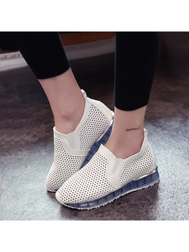 Breathable Pu Hollow Slip On Sneakers