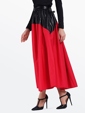 Contrast Color Patchwork Bohemian Skirts