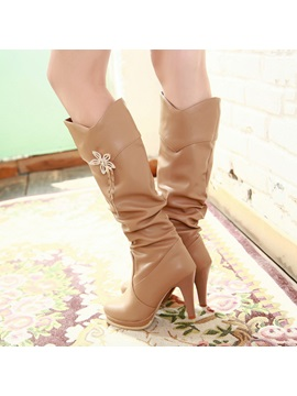 Embellished Pu Platform Knee High Boots