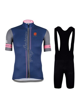 Polyester Navy Blue Mens Cycle Jersey And Bib Shorts