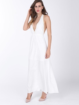 Chic V Neck Halter Backless Maxi Dress