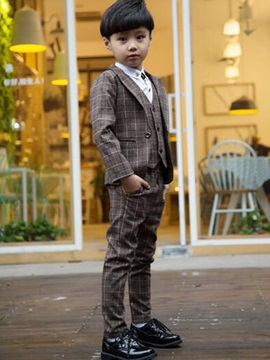 Colored Plaid Pocket Boys 3 Piece Outfit