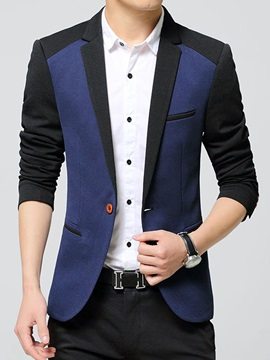 Patchwork Lapel Slim Fit Mens Single Button Blazer