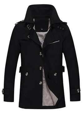 Buttons Notched Lapel Mens Casual Coat