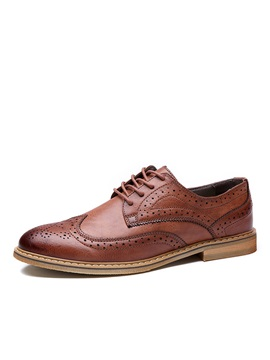 Retro Pu Wingtip Lace Up Dress Shoes