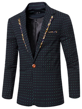 Notched Collar Polka Dots One Button Slim Mens Blazer