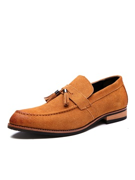 Suede Tassels Square Heel Mens Dress Shoes