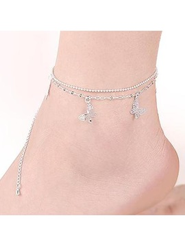 Butterfly Pendant Double Layers Anklet